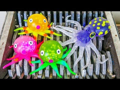 Octopus Family Shredded! Sharks and Wind-Up Water Toys Destroyed! What's Inside Slime Squishy Bath!