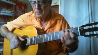 Another classical arrangement on request for my students. For tabs and standard notation and more information, please follow this link: http://profdeguitare.comMy new guitar (Grand Concert Classical Guitar) is made by Jean Verly a French luthier. His web site: http://www.verlyluthier.fr/