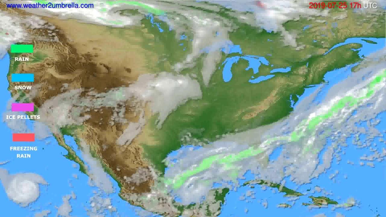 Precipitation forecast USA & Canada // modelrun: 00h UTC 2019-07-24