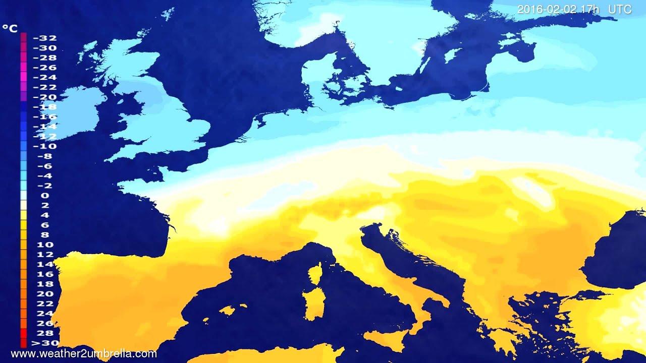 Temperature forecast Europe 2016-01-31