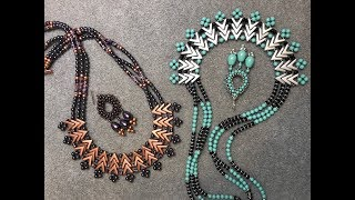 Join me on Facebook:http://www.Facebook.com/BronzeponyBeadedJewelryMaterials: For a 22+ inch Necklace - Jade and Onyx Version39 AVA Beads - Aluminum Approx. 168+ Czech O Beads - SilverApprox. 220+ -  2mm Onyx RondellesApprox. 174+  4mm Jade Pearl Beads11/0 Seed Beads - Galvanized Lt. Smokey PewterSoftFex Beading Wire .014 Gauge diameter (3 pieces 35 inches long)3 Ring Slide Clasp or Bar Clasp - Silver6 - Crimp Beads4mm Crimp Covers (optional)Size 11 beading Needle 8lb. Fireline - Black Satin (Love this thread :) Stop BeadsSpring Stop bead for wireFlat Nosed PliersCrimping Pliers (optional)Purple and Copper Version:39 AVA Beads210 - 4mm Pearls - Swarovski Iridescent   PurpleApprox. 172 - 2mm Heishi Slices or RondellesApprox. 60 - 6/0 Seed Beads - Metallic Copper11/0 Seed Beads - Copper Toho3 Ring Slide Clasp - Copper6 - Crimp Beads - Copper6 - 4mm Crimp Covers (optional)SoftFlex beading Wire .04 Diameter8 lb. Fireline - Black SatinSize 11 Beading needleStop BeadsFlar Nosed PiersCrimping Tool (optional)