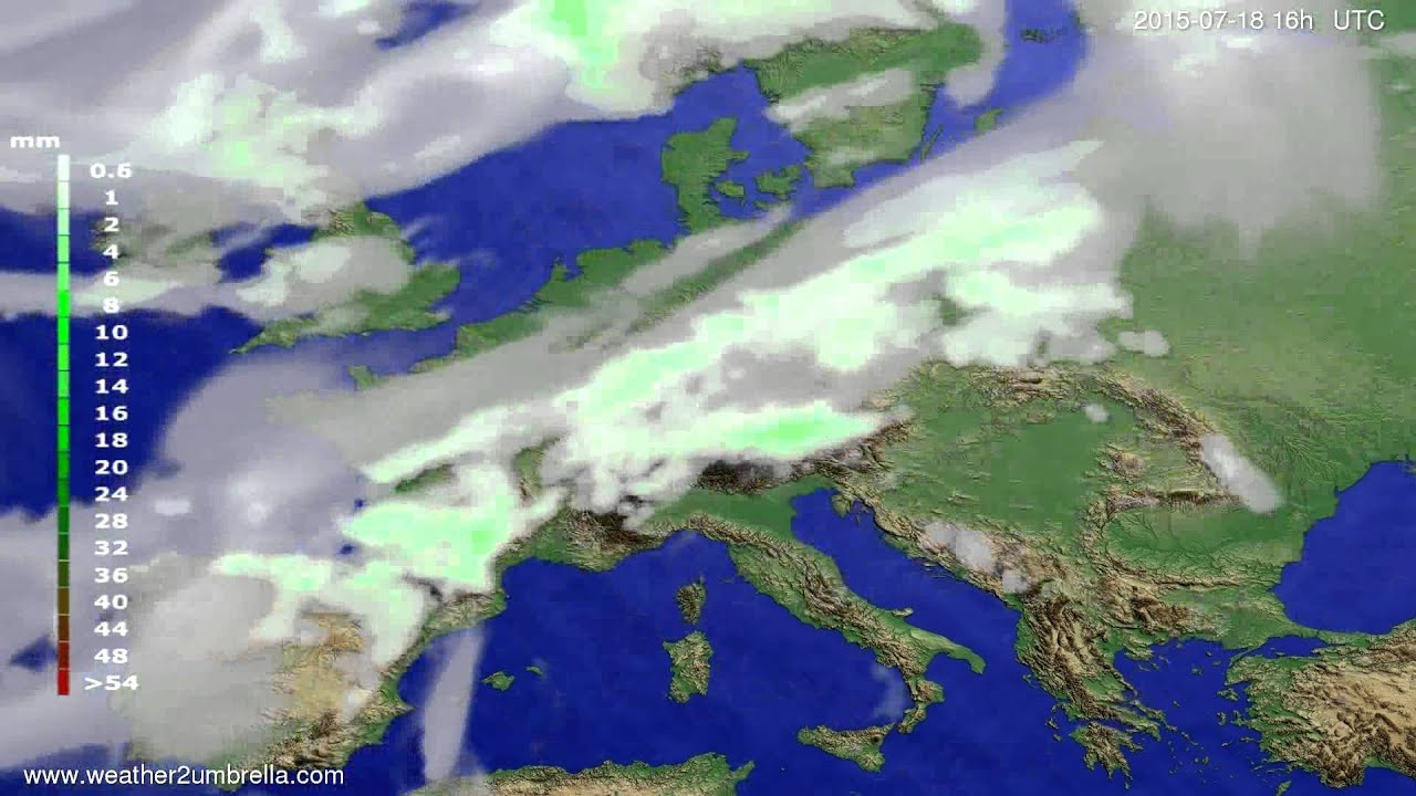 Precipitation forecast Europe 2015-07-16
