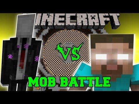 SLENDERMAN VS HEROBRINE - Minecraft Mod Battle - Mob Battles - Mods