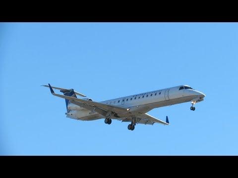 United Express Embraer ERJ-145 Landing at Newark Liberty International Airport (FULL HD)