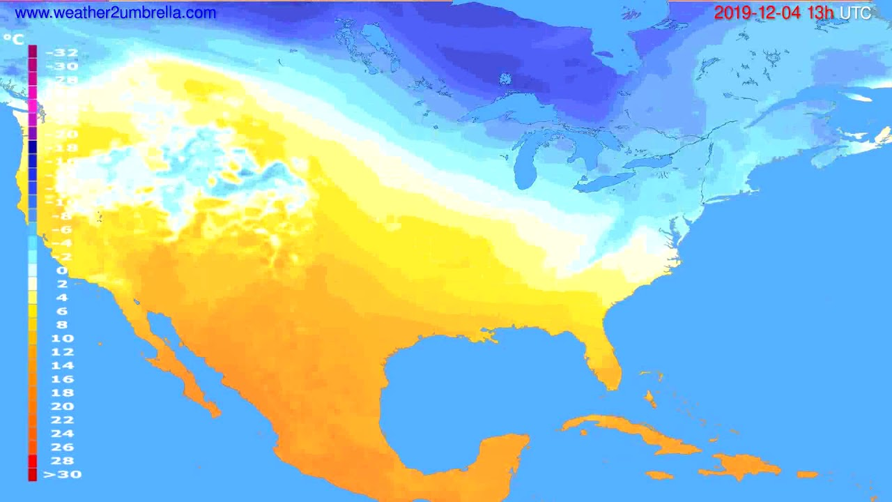 Temperature forecast USA & Canada // modelrun: 12h UTC 2019-12-02