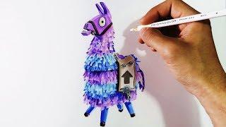 Cómo dibujar la Llama de Fortnite con lápices de colores | How to draw Loot Lama (English CC)