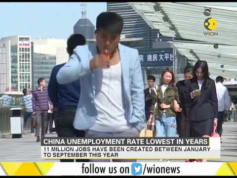 China unemployment rates lowest in several previous years