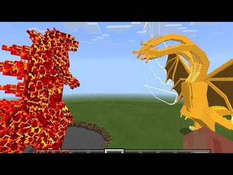 CRIMSON GODZILLA VS KING GHIDORA IN MINECRAFT