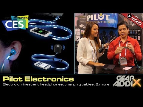 Pilot Electronics Electroluminescent Headphones, Charging Cables, & Accessories (CES 2014)