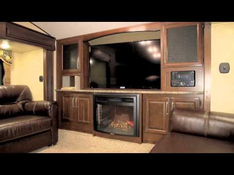Keystone RV thumbnail for Video: The 337FLS Cougar is one of the most popualr floorplans at shows this year.  Front living room design with High Country package make it a real standout.
