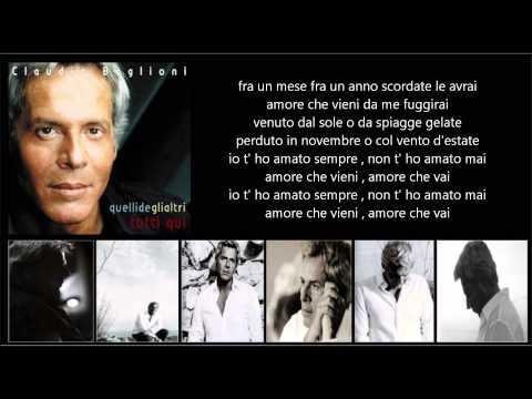 Tekst piosenki Claudio Baglioni - Amore Che Vieni, Amore Che Vai po polsku