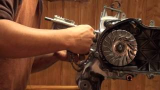 9. Install the Pistion & Cylinder from a Yamaha Zuma Bws Cygnus 125 Scooter part 3/4