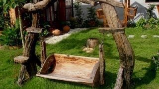Красивые идеи садовой мебели из дерева