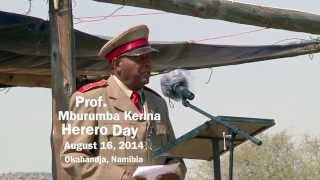 Okahandja, Namibia, August 16, 2014: Prof. Mburumba Kerina Speaks on Reparations from Germany for Hereros of Namibia. During the 1904-1908 war of ...