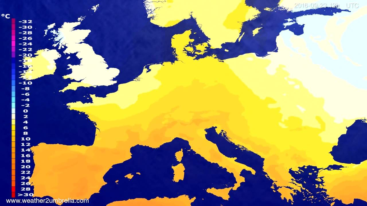 Temperature forecast Europe 2016-09-19