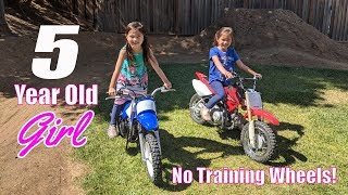 9. 5 Year Old Girl Learns How to Ride a Yamaha PW50 Dirt Bike - From Training Wheels to None