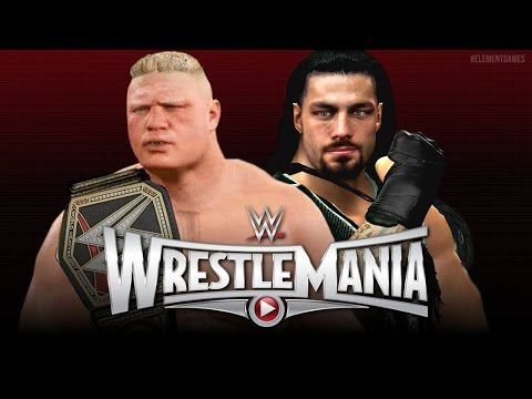 WWE Wrestlemania 31 : Roman Reigns vs Brock Lesnar - WWE Championship - EPIC Match! - (WWE 2K15):  WWE Wrestlemania 31 : Roman Reigns vs Brock Lesnar - WWE Championship. Can the Royal Rumble winner over come the 1 in 21-1? The WWE world heavyweight champion Brock Lesnar?The main event of Wrestlemania 31, The chosen one Roman Reigns steps up to the Beast incarnate Brock Lesnar in WWE 2K15 ! I added custom Wrestlemania 31 graphics to the match to add a more realistic effect.The arena used in this video is the Wrestlemania 29 arena from the WWE 2K15 Hall Of Pain downloadable content (DLC) and is not available in the default game without purchase (you cannot unlock it)The updated Brock Lesnar attire with authentic sponsors is available as a free download from PS4 community creations, so grab it today!Element Games Social Media :http://www.facebook.com/elementgamestvhttp://www.elementgamestv.tumblr.comhttp://www.twitter.com/elementgamestvhttp://www.elementgames.tvPromo music played at the beginning is by TeknoAxe and is available here : http://www.ascendents.net/?v=eej8Y8BEzTMThe song used for Roman Reigns is by AdamMassacre : http://www.ascendents.net/?v=oL0eucPMXqYThe Lesnar theme is made from scratch by my buddy Hotman718, be sure to check out his other cool songs. http://www.ascendents.net/?v=MeCqOaw7IEUThanks for watching