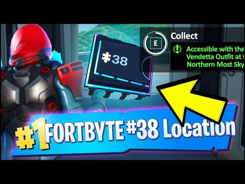 FORTBYTE 38 Location - ACCESSIBLE WITH THE VENDETTA OUTFIT AT NORTHERN MOST SKY PLATFORM (Fortnite)