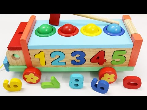 Wooden Truck Hammer Ball Toy, Number Sorting Toy