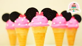 MINNIE MOUSE ICE CREAM CAKE POPS | MY LITTLE CAKES