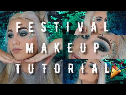 FESTIVAL Makeup Tutorial | Festival Season Makeup | Blue Glam | Glitter and Shimmer