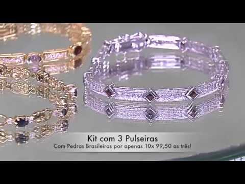Pulseiras de Prata com Pedras Brasileiras e Diamantes