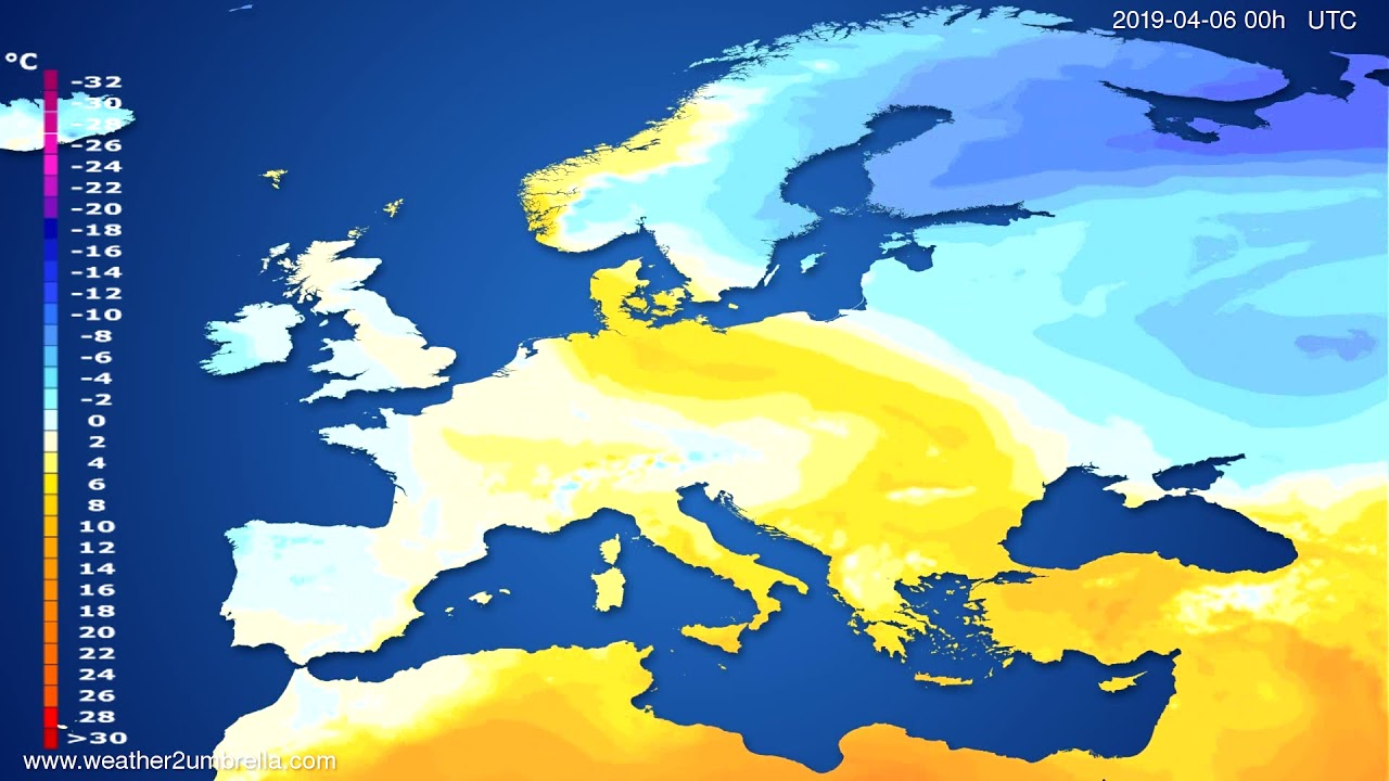 Temperature forecast Europe // modelrun: 12h UTC 2019-04-03
