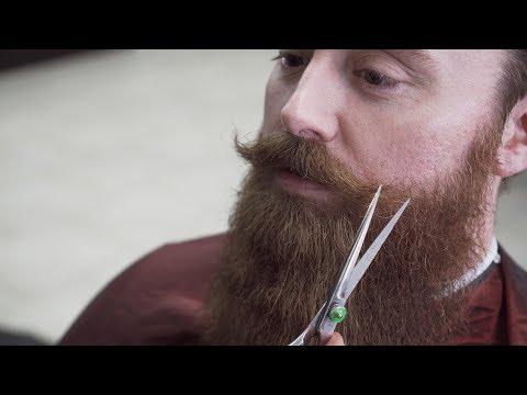 Beard styles - Beard Barber Trims and Shapes a Big Beard and Handlebar Mustache