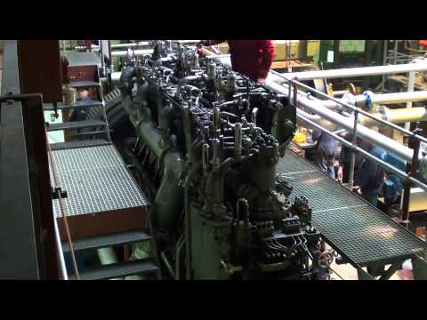 engine - A World War 1 U-boat diesel engine, built in 1917, running under load for the first time in years, after being moved to the new location of the SHVP. This U-...