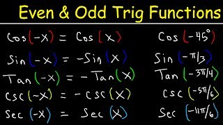 This trigonometry video tutorial explains how to use even and odd trigonometric identities to evaluate sine, cosine, and tangent trig functions.  This video contains plenty of examples and practice problems.