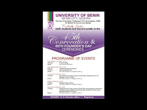 Watch Live: World Press Briefing Conference,45th Convocation and 49th Founder's Day ceremonies of the University of Benin