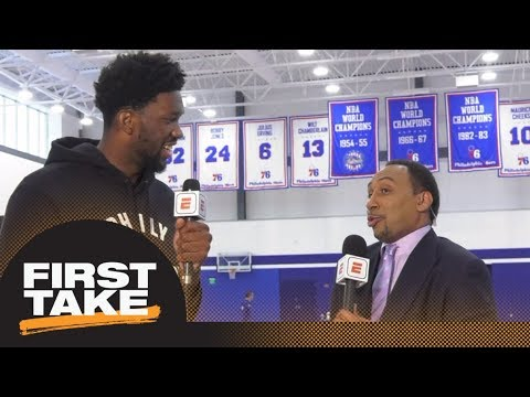 Joel Embiid tells Stephen A. Smith he never starts Twitter beef | First Take | ESPN