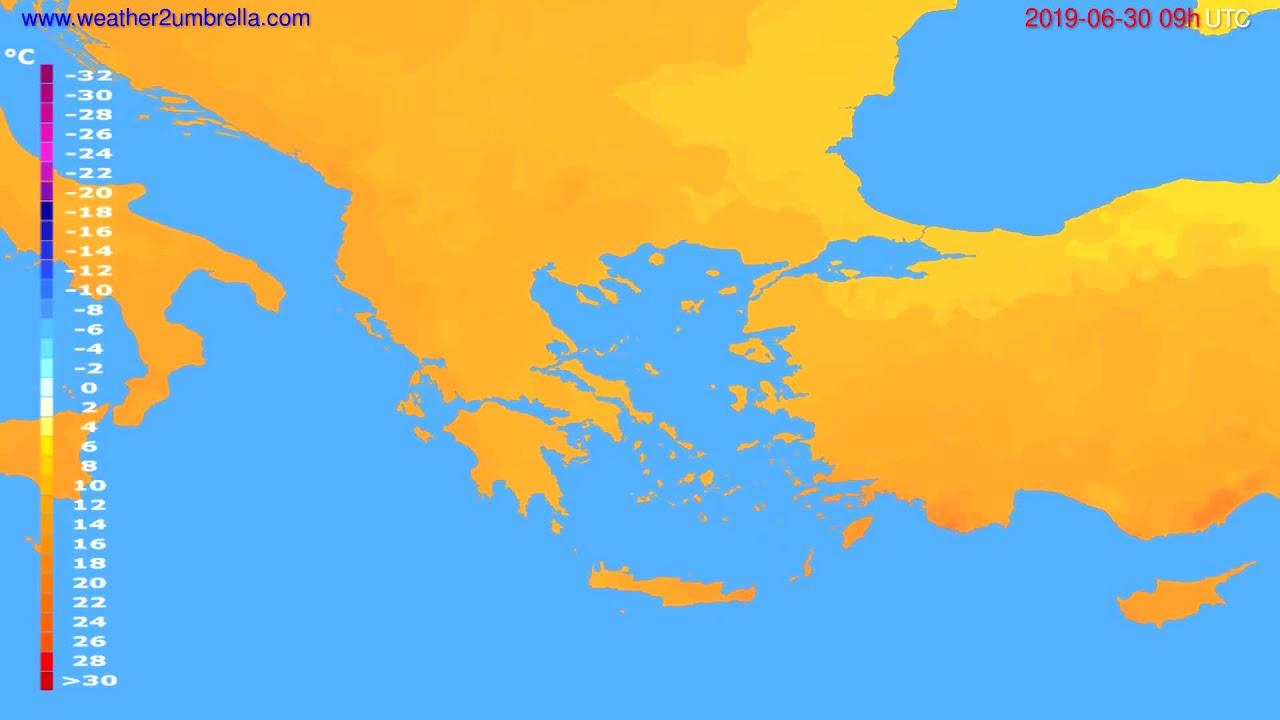 Temperature forecast Greece // modelrun: 12h UTC 2019-06-28