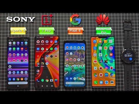Google Pixel 4 vs Huawei Mate 30 Pro vs Sony Xperia 5 vs Oneplus 7 Pro - Battery Life DRAIN TEST !