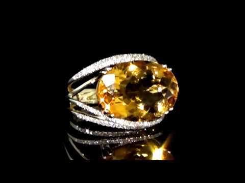 Lady's 14k Yellow Gold 9.35ct Citrine and Diamond Ring