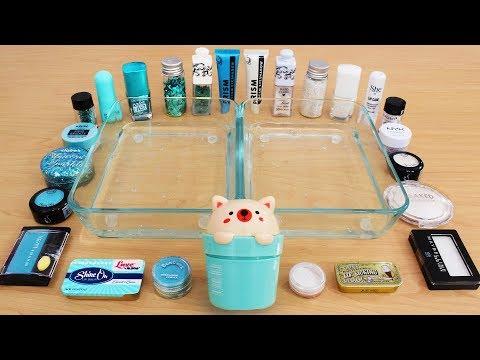Teal vs White - Mixing Makeup Eyeshadow Into Slime! Special Series 117 Satisfying Slime Video