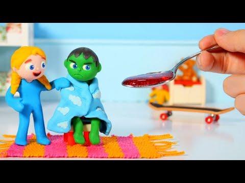 SUPERHERO BABY HAS A COLD  SUPERHERO PLAY DOH CARTOONS FOR KIDS