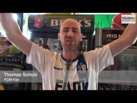 FCM-Fans feiern in Magdeburg den Aufstieg in die 2. ...