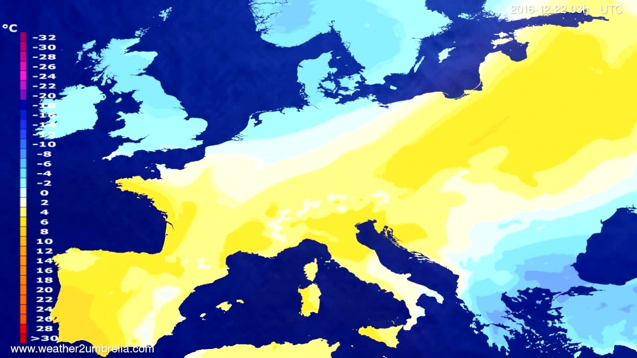 Temperature forecast Europe 2016-12-19