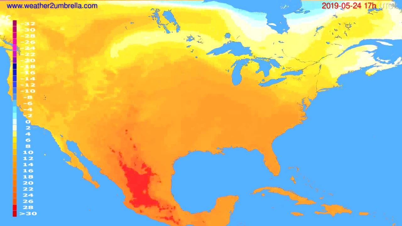 Temperature forecast USA & Canada // modelrun: 00h UTC 2019-05-23