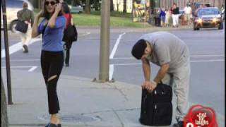 Just For Laughs TV - JFL Prank: Suitcase bolted to sidewalk