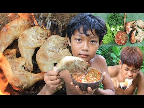 Primitive Technology - Cooking Chicken On A Rock And Eating Delicious