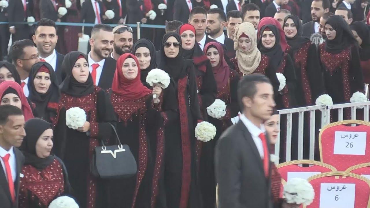 250 παλαιστινιακά ζευγάρια παντρεύτηκαν σε κοινή γαμήλια τελετή