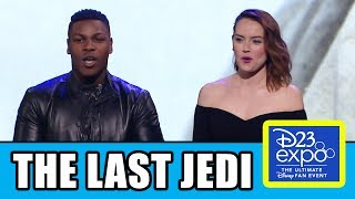 Star Wars The Last Jedi D23 Expo Panel with Mark Hamill, Daisy Ridley, John Boyega, Benicio del Toro, Gwendoline Christie, Kelly Marie Tran & Laura Dern + D23 Behind-The-Scenes Sizzle Reel Trailer.Subscribe for more! ► http://bit.ly/FlicksSubscribeRELATED VIDEOS--------------Star Wars The Last Jedi Trailer Easter Eggs ► http://youtu.be/5y6IVk-hLVQStar Wars Celebration 40th Anniversary Carrie Fisher Tribute Panel ► http://youtu.be/DFjrUEmYON4Star Wars Episode 8 The Last Jedi Celebration Panel ► http://youtu.be/B26RQLS-0d4PLAYLISTS YOU MIGHT LIKE------------------------Star Wars ► http://bit.ly/StarWarsVidsMarvel ► http://bit.ly/MarvelVideosDC ► http://bit.ly/DCVideosFox Marvel Movies ► http://bit.ly/FoxMarvelVideosAmazing Movie & TV Facts ► http://bit.ly/ThingsYouDidntKnowVideosMovie Deleted Scenes & Rejected Concepts ► http://bit.ly/MovieDeletedScenesEaster Eggs ► http://bit.ly/EasterEggVideosDisney Animation ► http://bit.ly/DisneyAnimationVideosPixar ► http://bit.ly/PixarVideosSOCIAL MEDIA & WEBSITE----------------------Twitter ► http://twitter.com/FlicksCityFacebook ► http://facebook.com/FlicksAndTheCityGoogle+ ► http://google.com/+FlicksAndTheCityWebsite ► http://FlicksAndTheCity.comRey took her first steps into a larger world in Star Wars: The Force Awakens and will continue her epic journey with Finn, Poe and Luke Skywalker in the next chapter of the continuing Star Wars saga, Star Wars: Episode VIII, which began principal photography at Pinewood Studios in London on February 15, 2016.   Star Wars: Episode VIII, which is written and directed by Rian Johnson and continues the storylines introduced in Star Wars: The Force Awakens, welcomes back cast members Mark Hamill, Carrie Fisher, Adam Driver, Daisy Ridley, John Boyega, Oscar Isaac, Lupita Nyong'o, Domhnall Gleeson, Anthony Daniels, Gwendoline Christie, and Andy Serkis.  New cast members will include Academy Award® winner Benicio Del Toro, Academy Award® nominee Laura Dern, and talented newcomer Kelly Marie Tran.   Star Wars: Episode VIII is produced by Kathleen Kennedy and Ram Bergman and executive produced by J.J. Abrams, Jason McGatlin and Tom Karnowski. Joining the production crew will be some of the industry's top talent, including Steve Yedlin (Director of Photography), Bob Ducsay (Editor), Rick Heinrichs (Production Designer), Peter Swords King (Hair and Make-Up Designer), and Mary Vernieu (US Casting Director). They will be joining returning crew members Pippa Anderson (Co-Producer, VP Post Production), Neal Scanlan (Creature & Droid FX Creative Supervisor), Michael Kaplan (Costume Designer), Jamie Wilkinson (Prop Master), Chris Corbould (SFX Supervisor), Rob Inch (Stunt Coordinator), Ben Morris (VFX Supervisor), and Nina Gold (UK Casting Director).  Star Wars: Episode VIII is scheduled for release December 15, 2017.