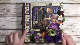 Take a video tour of this spooktacular Halloween in Wonderland Mini Album made with Graphic 45's Halloween in Wonderland Deluxe Collector's Edition. Measurin...