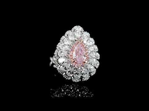 GIA Certified 1.21ct Pear Cut Fancy Pinkish Purple Diamond Ring