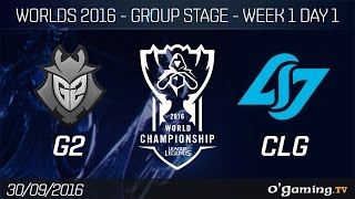 G2 vs CLG - World Championship 2016 - Group Stage Week 1 Day 1