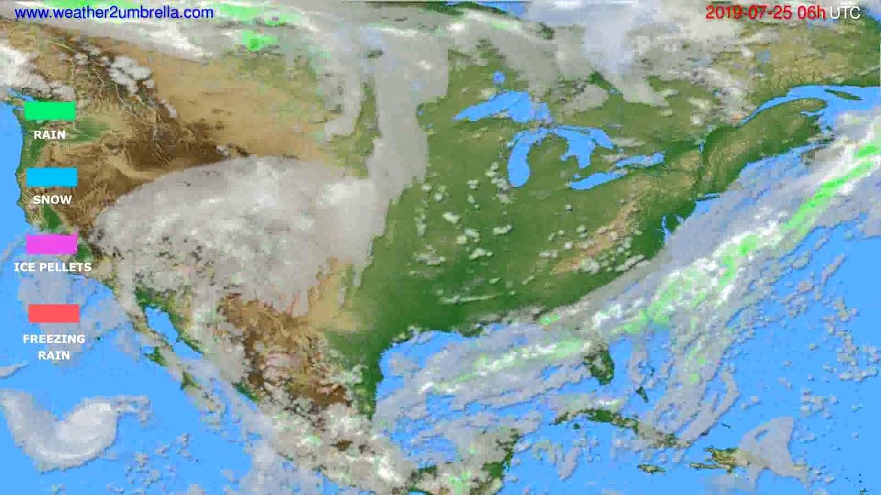 Precipitation forecast USA & Canada // modelrun: 00h UTC 2019-07-23