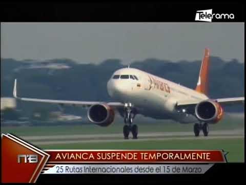 Avianca suspende temporalmente 25 rutas internacionales desde el 15 de Marzo