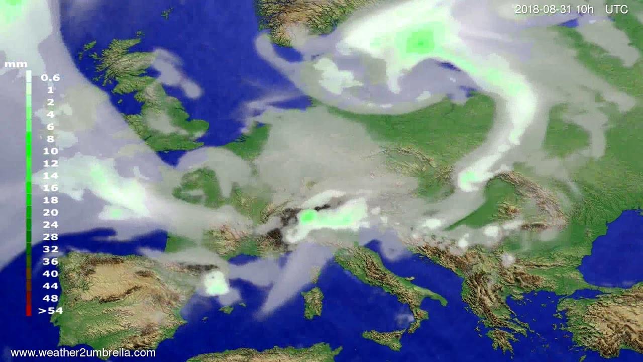 Precipitation forecast Europe 2018-08-29